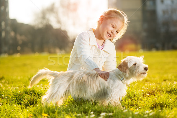 Little Girl With Her Puppy Dog Stock photo © MilanMarkovic78
