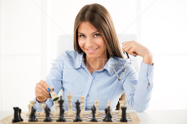 Estratégia de negócios jovem belo empresária sessão acima Foto stock © MilanMarkovic78