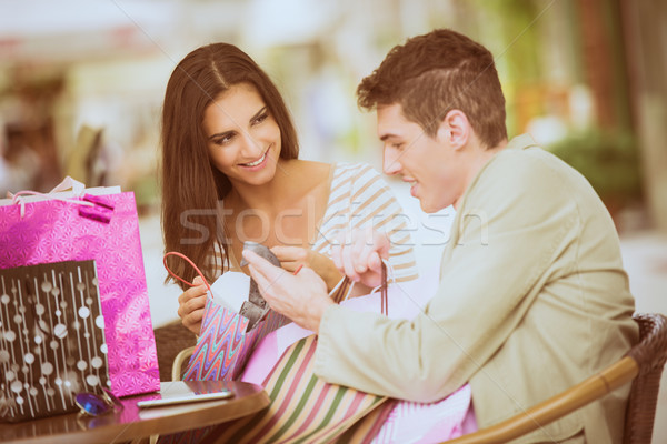 Couple In The Break After Shopping Stock photo © MilanMarkovic78
