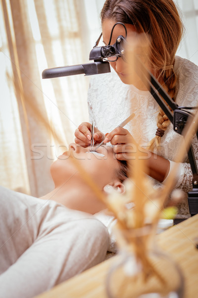 Procedure Eyelashes Extension Stock photo © MilanMarkovic78
