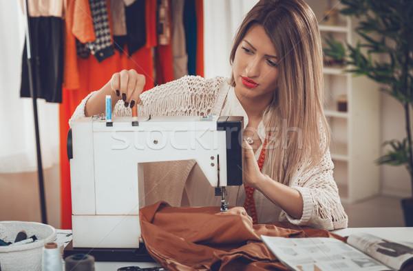 Stock photo: Young Fashion Designer Sew