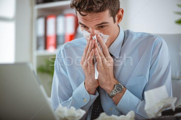холодно грипп молодые бизнесмен носа рабочих Сток-фото © MilanMarkovic78