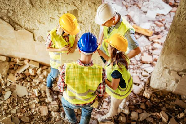 újjáépítés szerencsétlenség négy építkezés terv épület Stock fotó © MilanMarkovic78