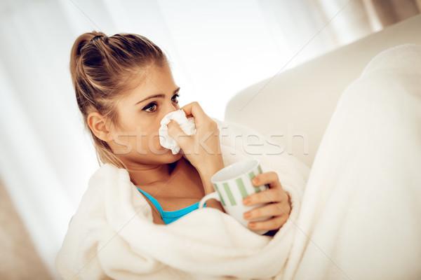 Menina retrato beautiful girl lenço nariz copo Foto stock © MilanMarkovic78