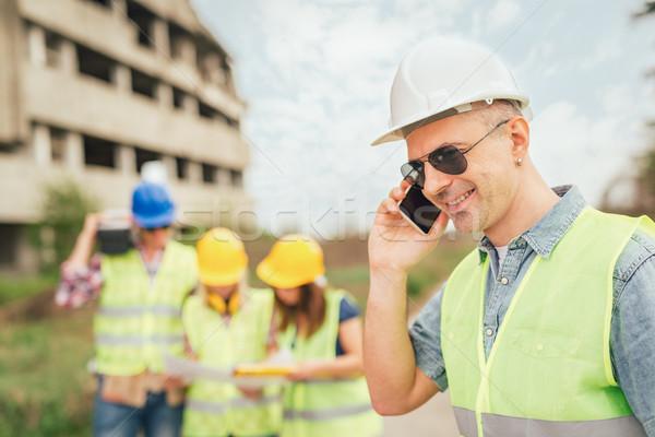 Foto stock: Reconstrução · catástrofe · construção · telefone · edifício