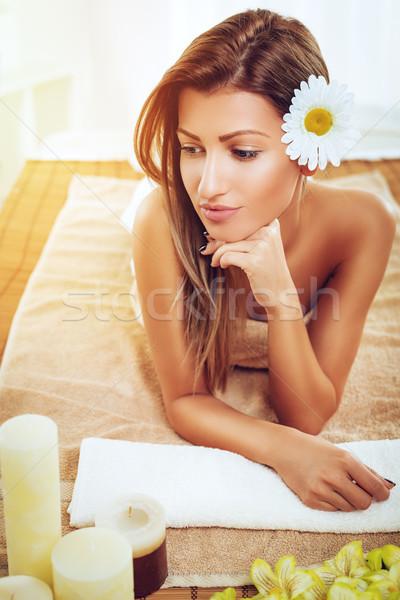 Cute ragazza spa centro bella Foto d'archivio © MilanMarkovic78