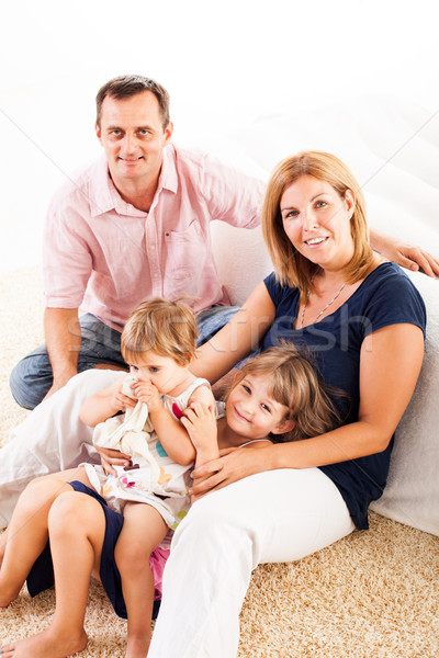 Photo stock: Famille · heureuse · belle · séance · tapis · femme · famille