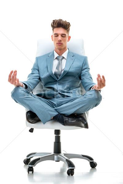 Stockfoto: Zakenman · yoga · vergadering · mediteren