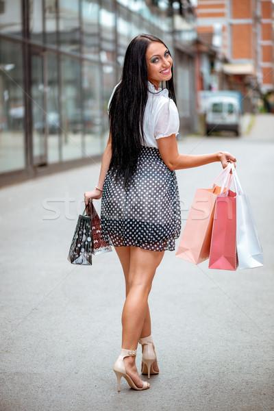 Alışveriş ateş genç kadın sokak dışarı Stok fotoğraf © MilanMarkovic78