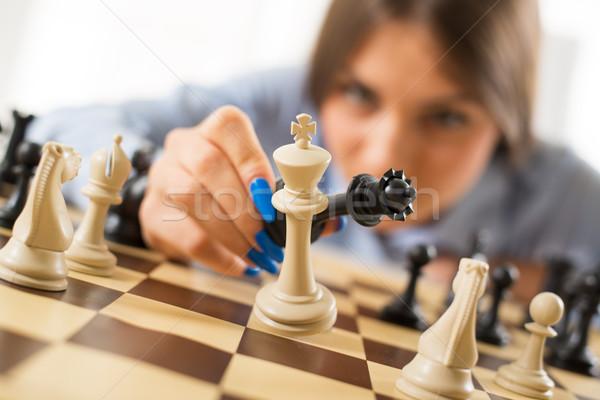 Schaakmat zakenvrouw koningin koning positie Stockfoto © MilanMarkovic78