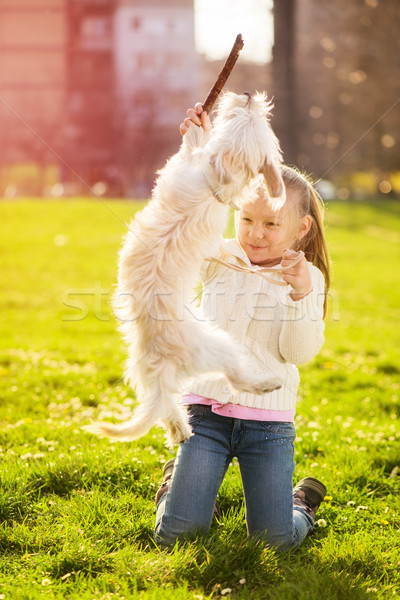 Stock photo: Little Girl With Puppy Dog