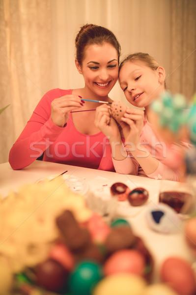 絵画 イースターエッグ 美しい 幸福 母親 娘 ストックフォト © MilanMarkovic78
