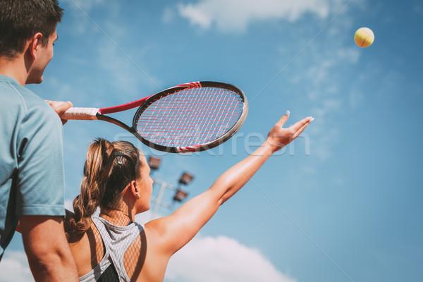 Foto stock: Menina · prática · tênis · treinador · belo · feminino