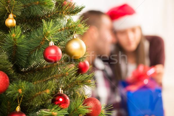 Karácsony dekoráció karácsonyfa fókusz előtér boldog Stock fotó © MilanMarkovic78