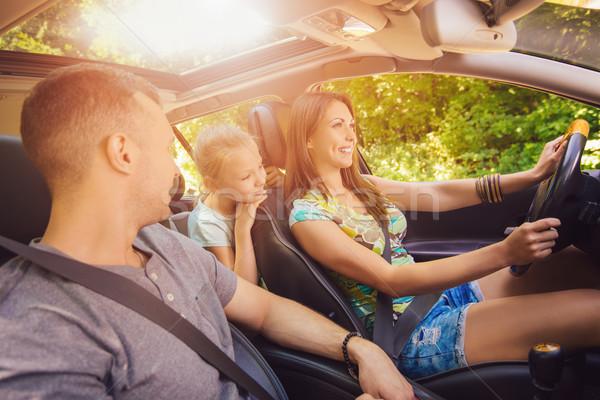 Foto stock: Família · jornada · belo · três · condução