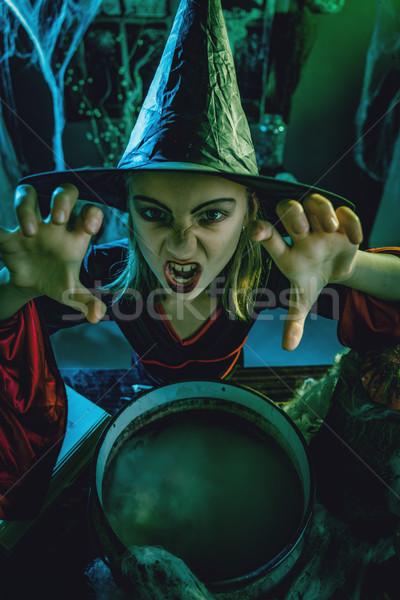Stock fotó: Fiatal · boszorkány · gonosz · felső · kilátás · arc