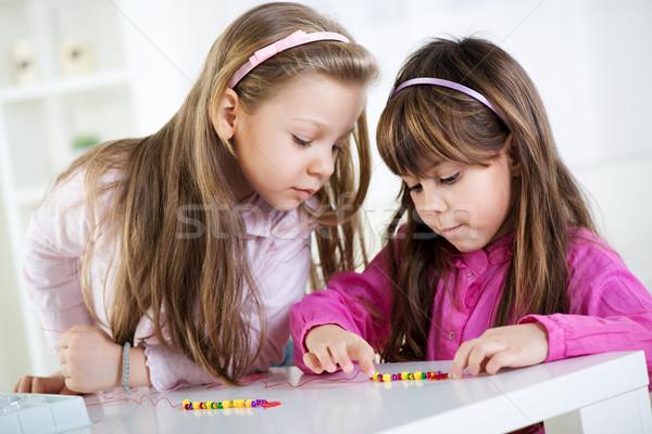 Aranyos kislányok kettő játszik otthon játék Stock fotó © MilanMarkovic78