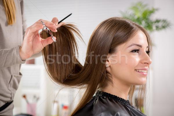 Foto stock: Jóvenes · mujer · hermosa · pelo · corte · mujer · sonriendo