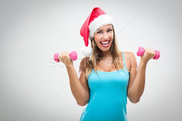 Stock photo: Christmas Fitness Woman