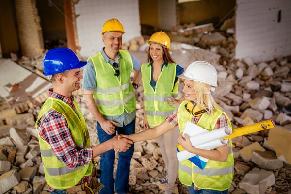 Réussi équipe jeunes Homme construction électricien Photo stock © MilanMarkovic78