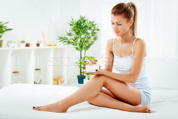 Test törődés gyönyörű fiatal nő alsónemű jelentkezik Stock fotó © MilanMarkovic78