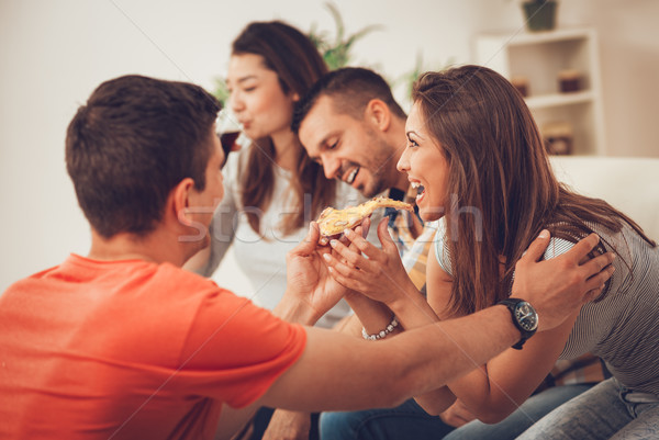 Friends Having Fun And Making Party At Home Stock photo © MilanMarkovic78