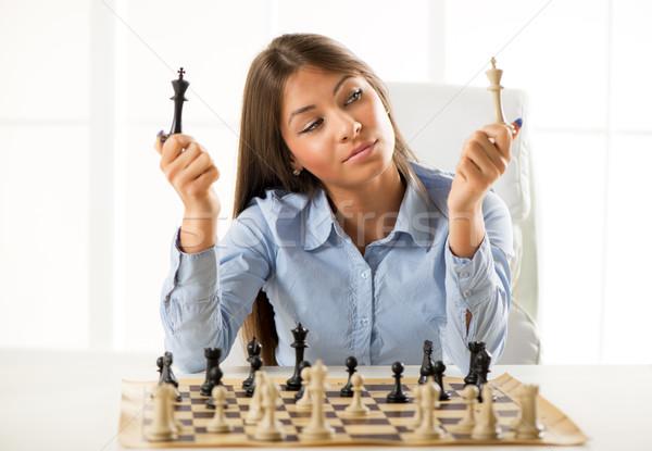Estrategia de negocios jóvenes hermosa mujer de negocios sesión Foto stock © MilanMarkovic78