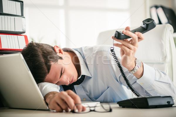 исчерпанный бизнесмен молодые устал спальный Сток-фото © MilanMarkovic78