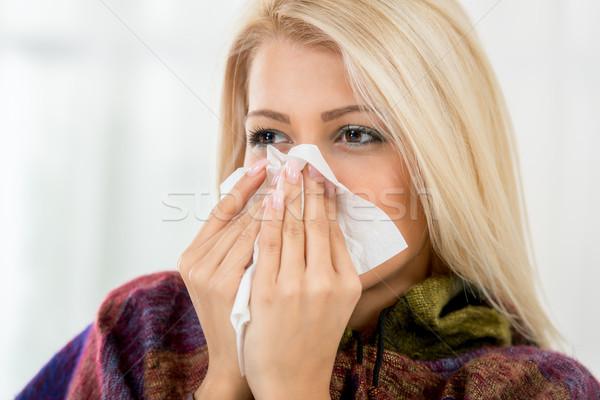 красивая девушка носовой платок девушки холодно вирус Сток-фото © MilanMarkovic78