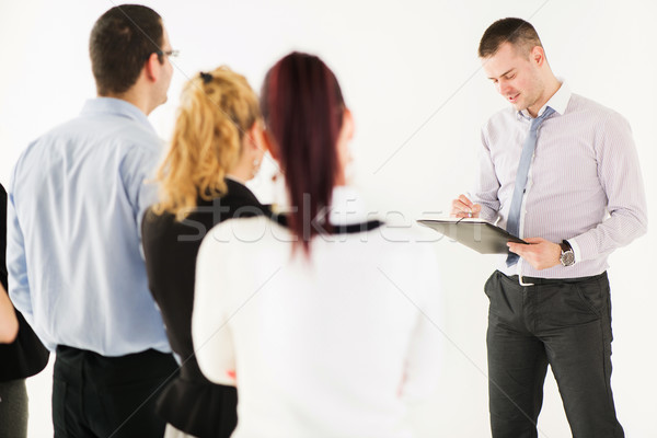 Stock photo: Happy Businessman Demonstrating his Project