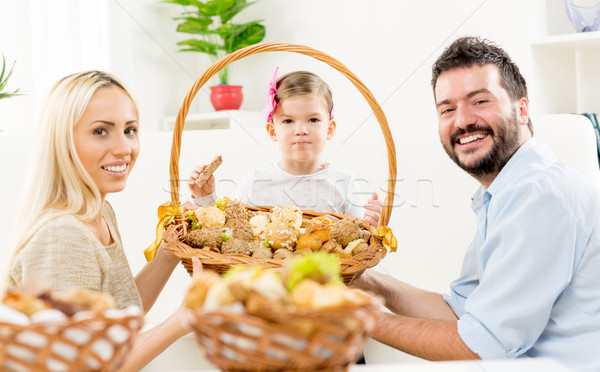 Happy Family With Baked Products Stock photo © MilanMarkovic78