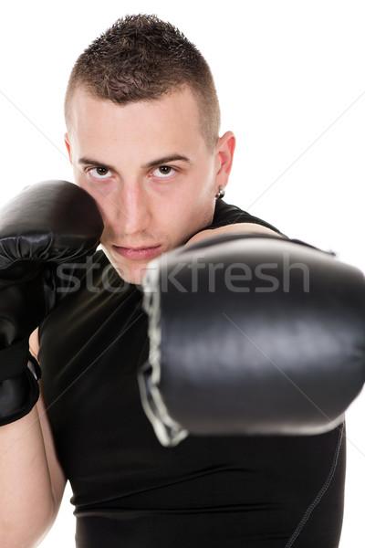 Kierować portret młodych boks mężczyzn sportu Zdjęcia stock © MilanMarkovic78