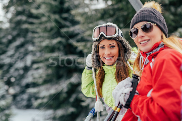 Girl Friends On Cable Car Stock photo © MilanMarkovic78
