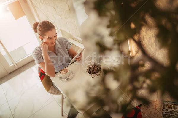 Imprenditrice break giovani sorridere cafe digitale Foto d'archivio © MilanMarkovic78