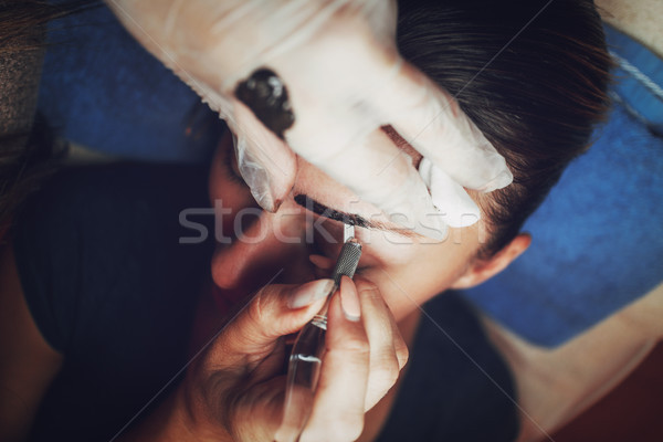 Japanese eyebrows drawing method Stock photo © MilanMarkovic78