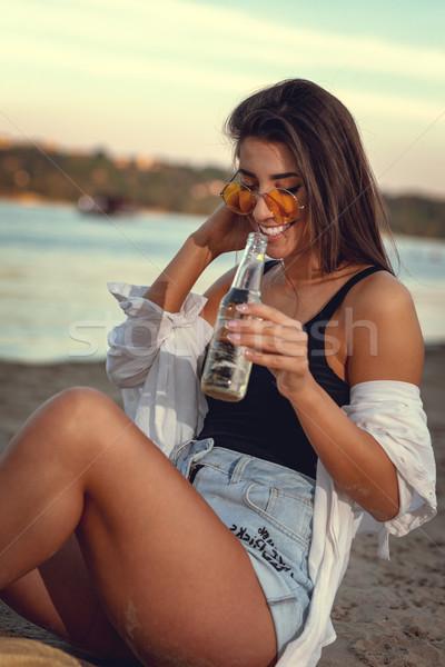 Día de verano relajante puesta de sol tiempo río Foto stock © MilanMarkovic78