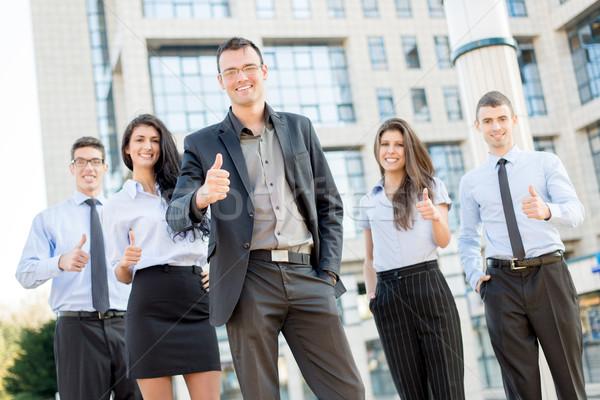Stockfoto: Geslaagd · business · team · jonge · permanente · buiten · kantoorgebouw