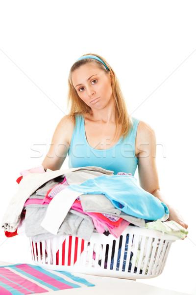 Nagy kosár mosás fiatal gyönyörű háziasszony Stock fotó © MilanMarkovic78