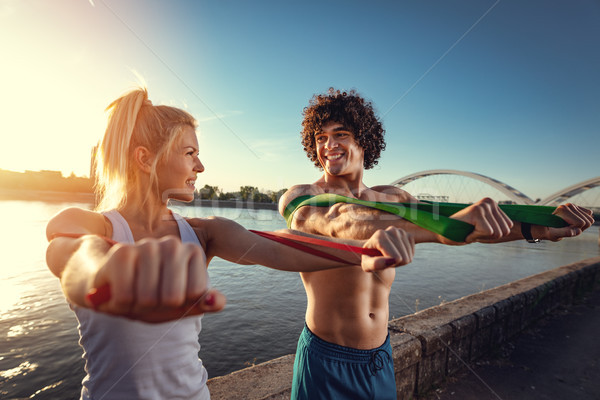 O que bom exercício jovem fitness casal Foto stock © MilanMarkovic78