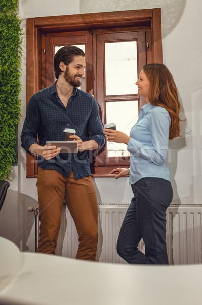 Ispirazione pausa caffè giovani sorridere digitale Foto d'archivio © MilanMarkovic78