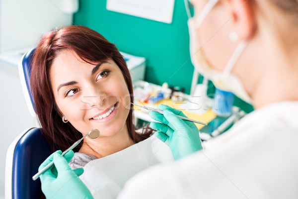 Smiling woman at dentist Stock photo © MilanMarkovic78