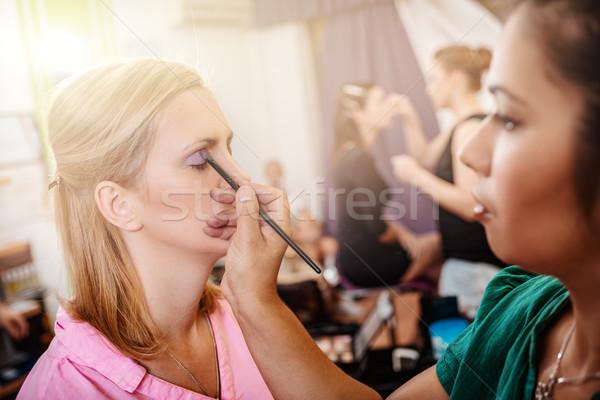 Make procede eyeliner model Stockfoto © MilanMarkovic78