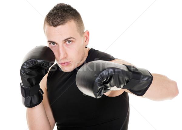 Portre genç boks erkekler eğitim güç Stok fotoğraf © MilanMarkovic78
