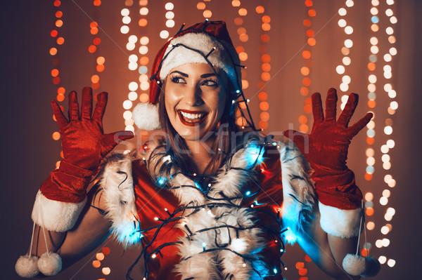 Gek christmas meisje portret mooie jonge Stockfoto © MilanMarkovic78