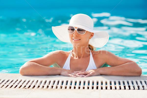 Сток-фото: бассейна · молодые · красивая · женщина · солнце · женщину