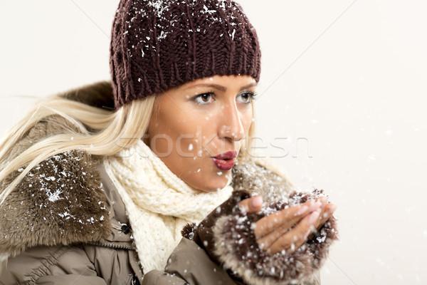 радости первый снега красивой молодые Сток-фото © MilanMarkovic78