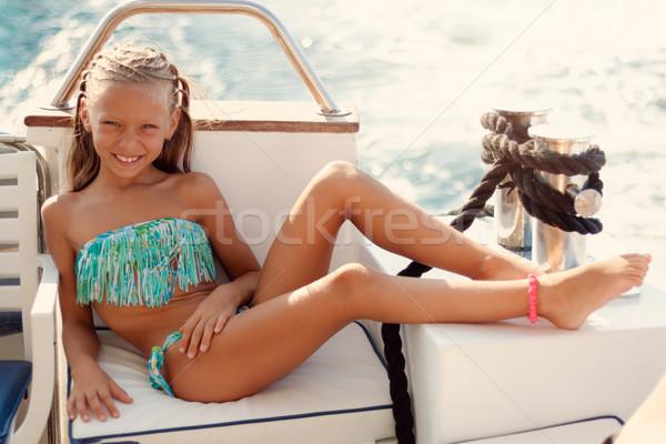 Foto stock: Verão · relaxante · bonitinho · sorridente · little · girl