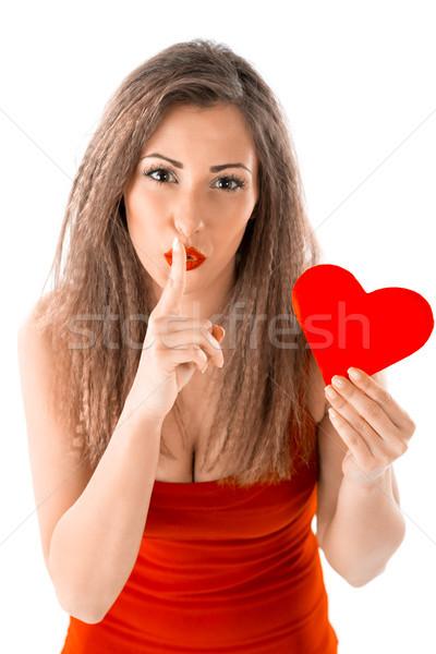Valentijnsdag geheime jong meisje Rood hart hand Stockfoto © MilanMarkovic78