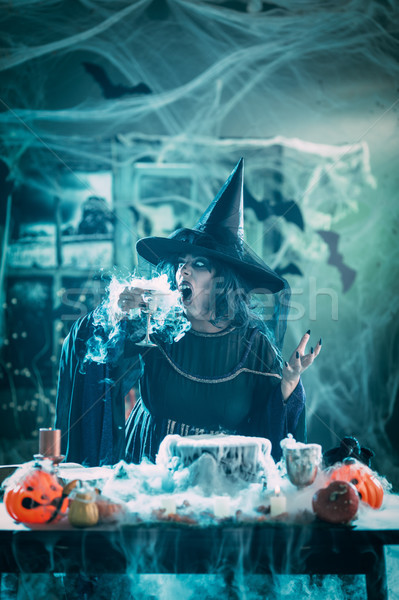 Witch Drinks Magic Potion Stock photo © MilanMarkovic78