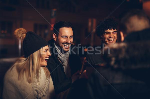 ストックフォト: 友達 · 1泊 · 小さな · クリスマス